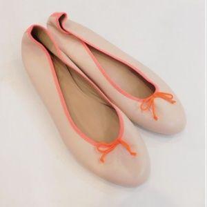 J Crew Womens Kiki Flats Shoes Peach Orange Sz 9.5